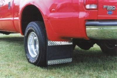 Owens - Owens 86RF105D Rubber with Diamond Plate Dually Mud Flaps Ford F350 1999-2010