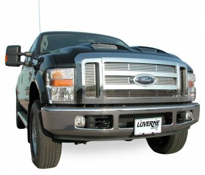 Luverne - Luverne 230521 Horizontal Stainless Steel Grill Insert 2005-2007 Ford F-250/F-350/F-450/F-550 Super Duty, Excursion 6 pieces