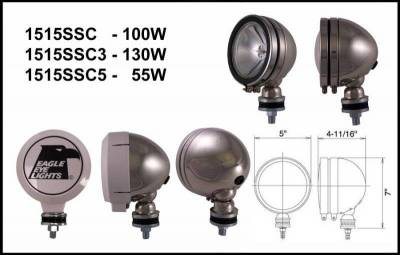"Eagle Eye Lights - Eagle Eye Lights 1515SSC 5"" Stainless Steel 12V 100W Spot Clear Round Halogen Off Road Light with ABS Cover (Each)"