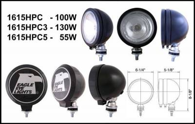 "Eagle Eye Lights - Eagle Eye Lights 1615HPC 6"" Black 12V 100W Spot Clear Round Halogen Off Road Light with ABS Cover (Each)"