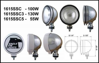 "Eagle Eye Lights - Eagle Eye Lights 1615SSC5 6"" Stainless 12V 55W Spot Clear Round Halogen Off Road Light with ABS Cover (Each)"