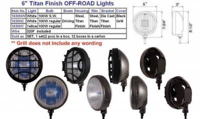 "Eagle Eye Lights - Eagle Eye Lights 1630NW-N 6"" Steel with TITAN FINISH 12V 100W Superwhite Driving Round Halogen Off Road Light with Grille Guard 320F Wiring (Set)"