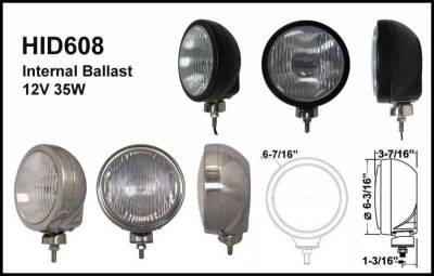 "Eagle Eye Lights - Eagle Eye Lights HID608BD 6 3/16"" Black 35W Internal Ballast HID Driving Clear Round HID Off Road Light with ABS Cover (Each)"