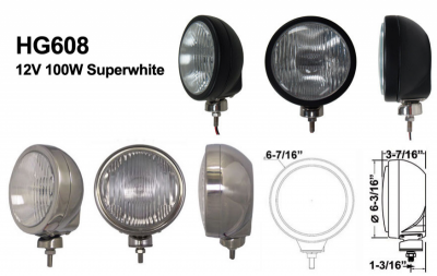 "Eagle Eye Lights - Eagle Eye Lights HID608BF50W 6 3/16"" Black 50W Internal Ballast HID Flood Clear Round HID Off Road Light with ABS Cover (Each)"