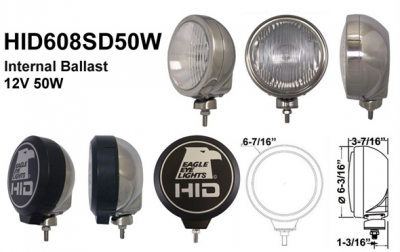 "Eagle Eye Lights - Eagle Eye Lights HID608SD50W 6 3/16"" Stainless Steel 50W Internal Ballast HID Driving Clear Round HID Off Road Light with ABS Cover (Each)"