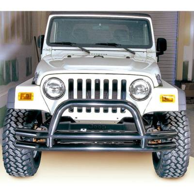 Rugged Ridge - Rugged Ridge 11560.01 Front Tube Bumper With Riser Black 1976-2006 CJ Jeep Wrangler/Unlimited