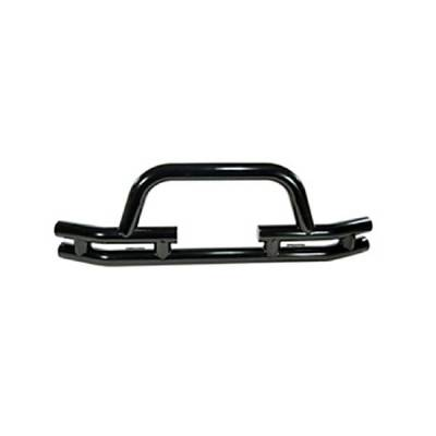 Rugged Ridge - Rugged Ridge 11560.03 Front Tube Bumper With Winch Cut Out Black 1976-2006 Jeep CJ Wrangler/Unlimited