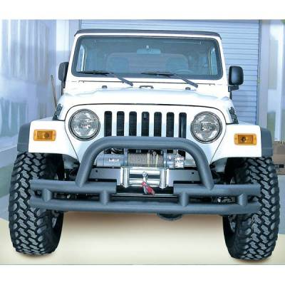 Rugged Ridge - Rugged Ridge 11561.03 Front Tube Bumper With Winch Cut Out Black Textured 1976-2006 Jeep CJ Wrangler/Unlimited