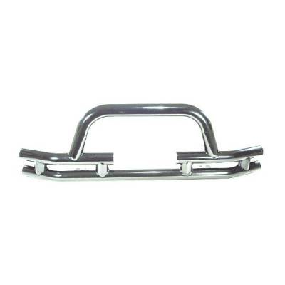 Rugged Ridge - Rugged Ridge 11563.03 Front Tube Bumper With Winch Cut Out Stainless 1976-2006 Jeep CJ Wrangler/Unlimited
