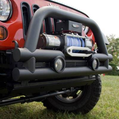 Rugged Ridge - Rugged Ridge 11561.12 Stubby Tube Bumper Textured Black with Winch Plate Jeep Wrangler Jeep Wrangler JK 2007-2010