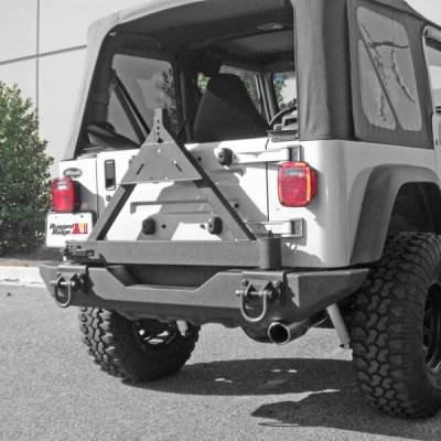 Rugged Ridge - Rugged Ridge 11546.42 Tire Carrier Add On XHD Rear Bumper Jeep CJ5 1976-1983 CJ7 1976-1986 CJ8 1981-1986 Wrangler YJ 1987-1995 TJ 1997-2006