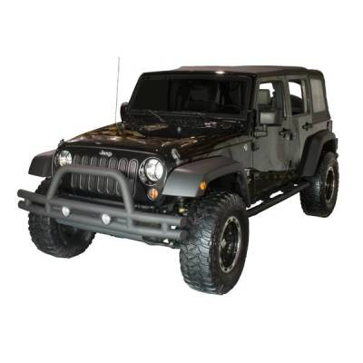 Rugged Ridge - Rugged Ridge 11561.10 Tube Bumper Front Textured Black Jeep Wrangler JK 2007-2010