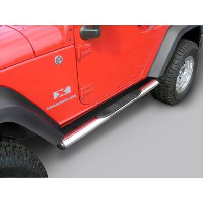 Rugged Ridge - Rugged Ridge 11593.07 Tube Steps 4 1/4-Inch Oval Stainless Steels 2007-2010 Jeep Wrangler Jeep Wrangler JK 2 Door