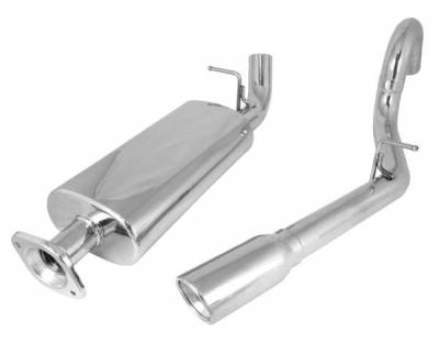 Rugged Ridge - Rugged Ridge 17606.72 Cat Back Exhaust Kit Stainless Steel Single Right Hand Outlet Jeep Wrangler Unlimited Lj 2004-2006 With 40L