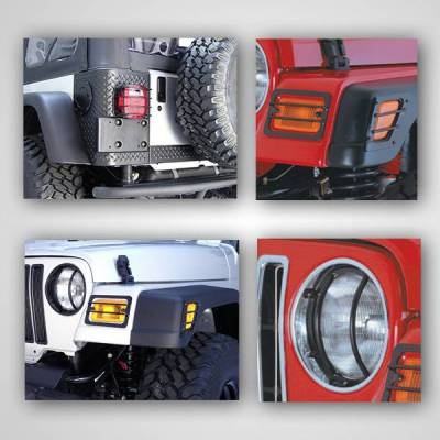 Rugged Ridge - Rugged Ridge 12495.02 Euro Guard Light Kit Black 6 Piece Jeep Wrangler Jeep TJ 1997-2006 Includes: Headlight Side Marker And Tail Light Guards