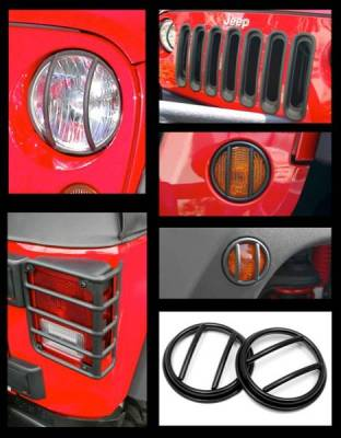 Rugged Ridge - Rugged Ridge 12496.05 Euro Guard Light Kit With Headlight Bezels And Grille Inserts Black 21 Piece Jeep Wrangler Jeep Wrangler JK 2007-2012