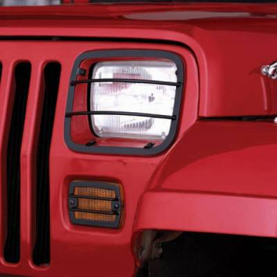 Rugged Ridge - Rugged Ridge 11230.02 Front Headlight And Turn Signal Guards Black 1987-1995 Wrangler 4 Pieces