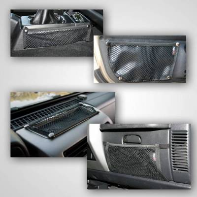Rugged Ridge - Rugged Ridge 12495.11 Interior Mesh Storage Net Kit 5 Piece Black Jeep Wrangler Jeep TJ 1997-2006 Includes: Dash Glove Box Console And 2 Door Nets