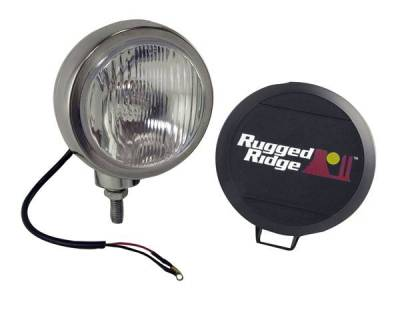 Rugged Ridge - Rugged Ridge 15206.01 Hid Off Road Fog Light 6-Inch Round Stainless Steel Single Light