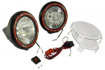 Rugged Ridge - Rugged Ridge 15205.54 Hid Off Road Fog Light Kit Pair Of Lights with Wiring Harness 5-In Round Black Composite Housing