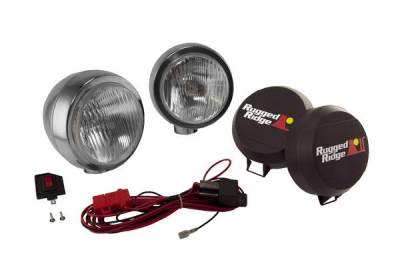 Rugged Ridge - Rugged Ridge 15206.51 Hid Off Road Fog Light Kit Pair Of Lights with Wiring Harness 6-In Round Stainless Steel