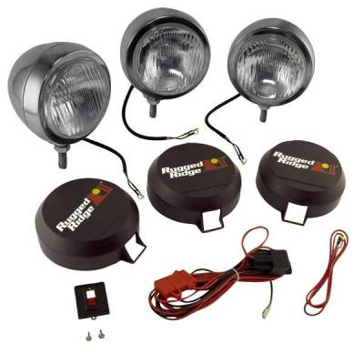 Rugged Ridge - Rugged Ridge 15206.61 Hid Off Road Fog Light Kit Three Lights with Wiring Harness 6-In Round Stainless Steel