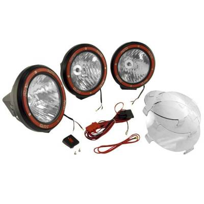 Rugged Ridge - Rugged Ridge 15205.63 Hid Off Road Fog Light Kit Three Lights with Wiring Harness 7-In Round Black Composite Housing