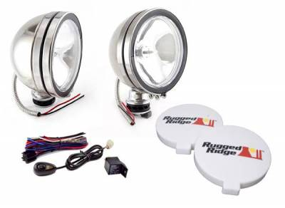 Rugged Ridge - Rugged Ridge 15208.51 Off Road Fog Light Kit Pair Of Lights with Wiring Harness 6-In Round Stainless Steel 100W