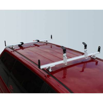 "Vantech - Vantech J2005W White Rack System with 59"" Cross Bars White Aluminum (Drilling Required)"