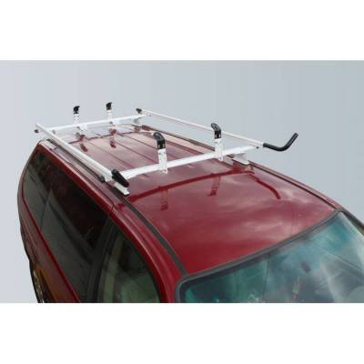 "Vantech - Vantech J4002W White Rack System 55"" Cross Bars and 72"" Side Rails White Aluminum (Drilling Required)"