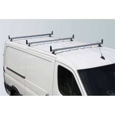 "Vantech - Vantech H3312W White 3 Bar 8"" wide Base System with A03 Side supports White Steel & Aluminum Dodge Sprinter w/ track (2007-2013)"