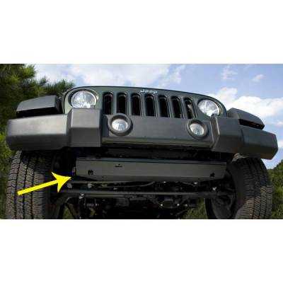 Rugged Ridge - Rugged Ridge 18003.30 Skid Plate Front Black Jeep Wrangler JK 2007-2009 Note: 2010 Some Modification To Vehicles Lower Frame Bar Will Be Needed Cutting And Or Grinding Will Be Required