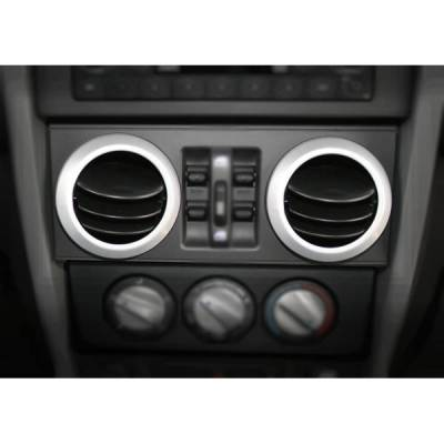 Rugged Ridge - Rugged Ridge 11151.10 Ac Vent Trim Cover Brushed Silver Jeep Wrangler Jeep Wrangler JK 2007-2015 Sold In Pairs