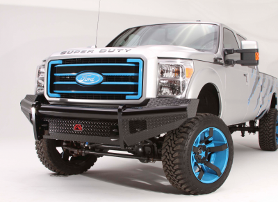 Fab Fours - Fab Fours FS99-S1661-1 Black Steel Front Winch Bumper Ford Super Duty 1999-2004