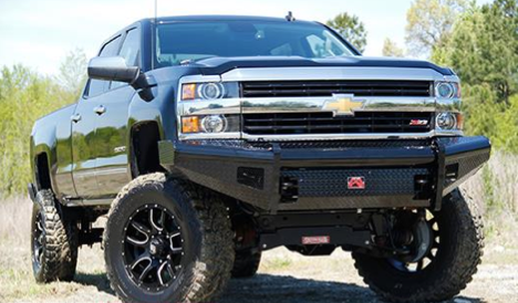 Fab Fours - Fab Fours CH14-S3061-1 Black Steel Front Bumper No Guard Chevy Silverado 2500HD/3500 2015-2019
