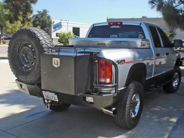 Aluminess - Aluminess 210033 Rear Bumper with Tire Rack & Box Rack Swing Arms Dodge RAM 2500/3500 2006-2009