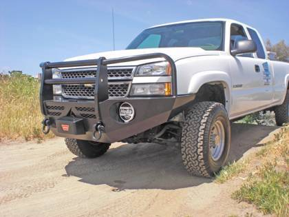 Aluminess - Aluminess 210105 Front Bumper with Brush Guard GMC Sierra 2500HD/3500 Classic 2003-2006