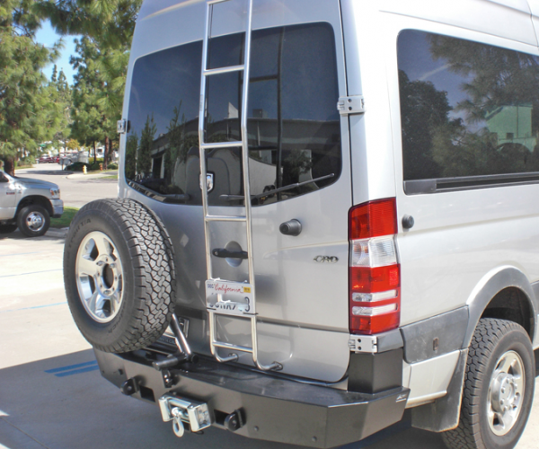 Aluminess - Aluminess 210168 Rear Bumper with Guard & Swing Arms Winch Ready Dodge Sprinter 2007-2013