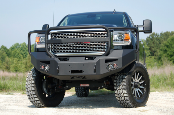 Fab Fours - Fab Fours GM14-A3150-1 Winch Front Bumper with Grille Guard and No Sensors GMC 2500HD/3500 2015-2019