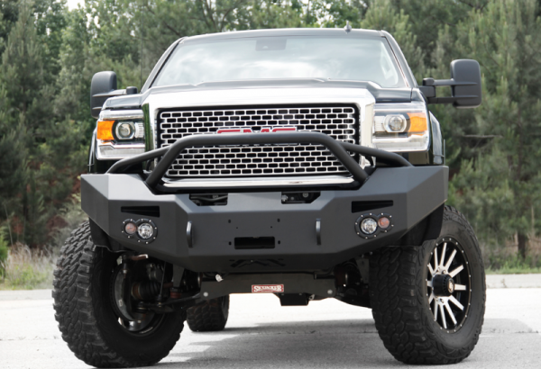 Fab Fours - Fab Fours GM14-A3152-1 Winch Front Bumper with Pre-runner Bar GMC 2500HD/3500 2015-2019