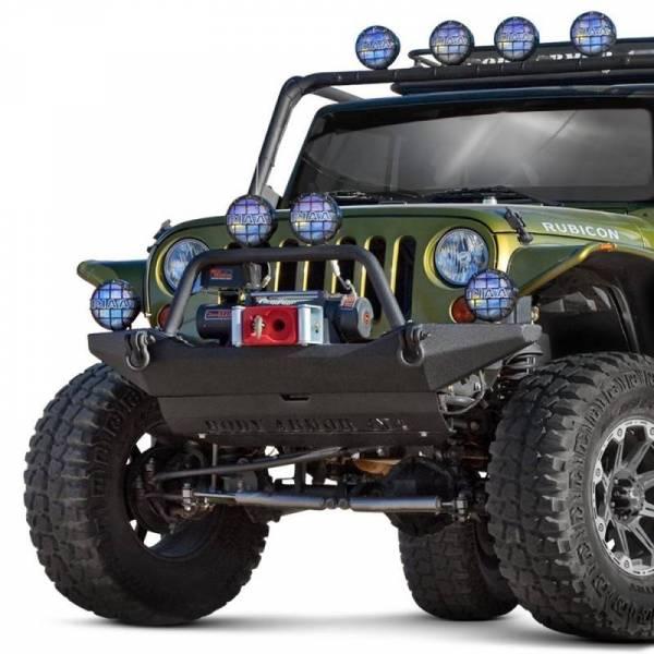 Body Armor - Body Armor JK-19531 Full Width Front Bumper with Bolt on Push Bar Jeep Wrangler JK 2007-2018
