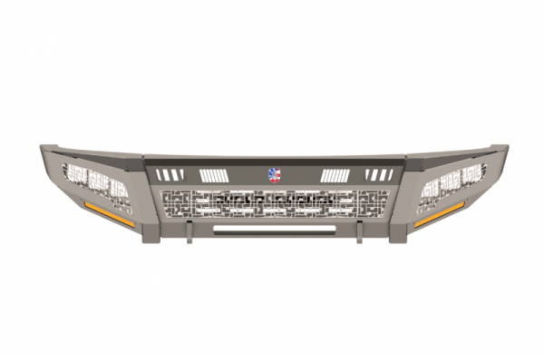 Road Armor - Road Armor 3154DF-B1-P3-MD-BH Identity Front Bumper with Shackle Mounts Wide Ends with 3 Cube Light Pods and ID Accents Raw Steel Chevy Silverado 2500HD/3500 2015-2019