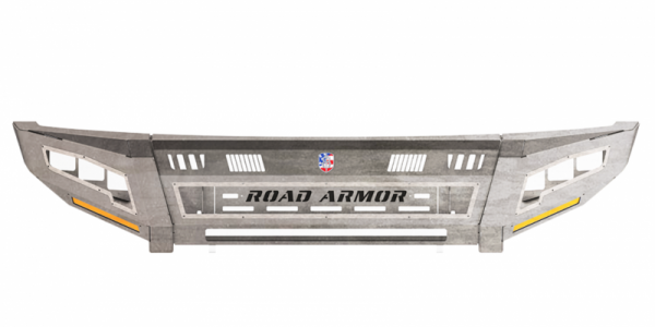 Road Armor - Road Armor 3154DF-A1-P3-MR-BH Identity Front Bumper without Shackle Mounts Wide Ends with 3 Cube Light Pods and Beauty Ring Accents Raw Steel Chevy Silverado 2500HD/3500 2015-2019