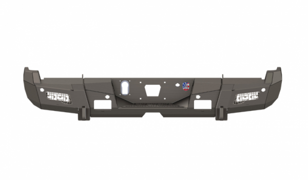 Road Armor - Road Armor 3152DR-B0-P2-MD-BH Identity Rear Bumper with Shackle Mounts and ID Mesh Raw Steel Chevy Silverado 2500HD/3500 2015-2019