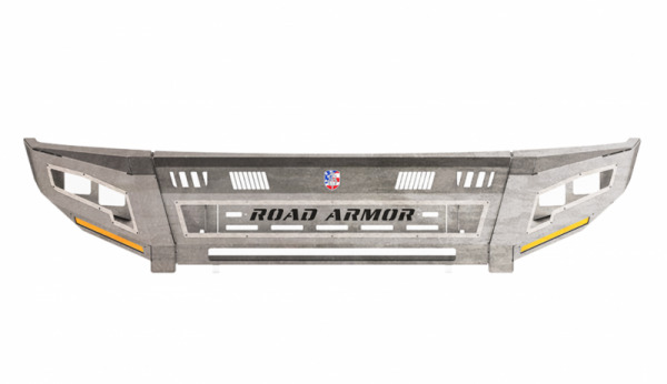 Road Armor - Road Armor 2152DF-B0-P2-MR-BH Identity Front Bumper with Shackle Mounts Standard Ends with 2 Cube Light Pods and Beauty Ring Accents Raw Steel GMC Sierra 2500HD/3500 2015-2019