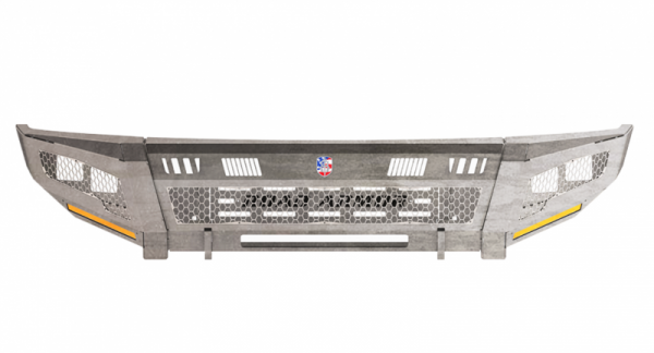 Road Armor - Road Armor 2152DF-A0-P2-MH-BH Identity Front Bumper without Shackle Mounts Standard Ends with 2 Cube Light Pods and Hyve Accents Raw Steel GMC Sierra 2500HD/3500 2015-2019