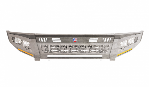 Road Armor - Road Armor 2152DF-A0-P2-MD-BH Identity Front Bumper without Shackle Mounts Standard Ends with 2 Cube Light Pods and ID Accents Raw Steel GMC Sierra 2500HD/3500 2015-2019