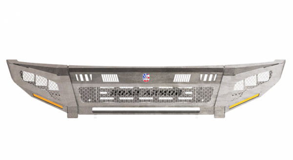 Road Armor - Road Armor 2154DF-A1-P3-MH-BH Identity Front Bumper without Shackle Mounts Wide Ends with 3 Cube Light Pods and Hyve Accents Raw Steel GMC Sierra 2500HD/3500 2015-2019