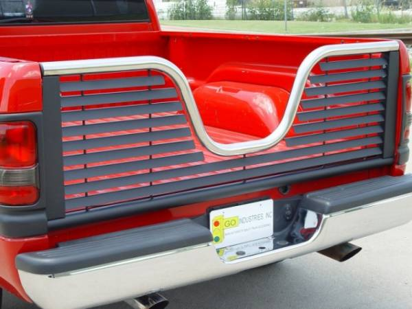 GO Industries - Go Industries 6036 Louvered V-Gate Black/Tailgate Stainless Ford F-150 Except Heritage 2004-2010