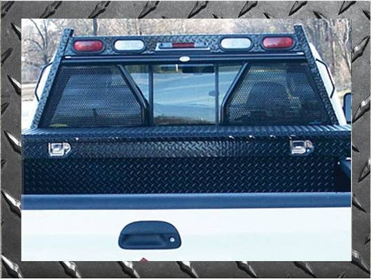 Frontier Gear - Frontier Gear 500-29-9004 Diamond Series Headache Rack Chevy/GMC 1500/2500/3500HD Open Punch Plate With Lights (1988-2013)